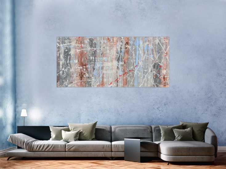 schlichtes abstraktes acrylbild helle farben wei blau braun grau auf leinwand 80x180cm. Black Bedroom Furniture Sets. Home Design Ideas