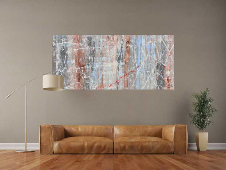 Schlichtes Abstraktes Acrylbild Helle Farben Weiß Blau Braun Grau Auf  Leinwand 80x180cm