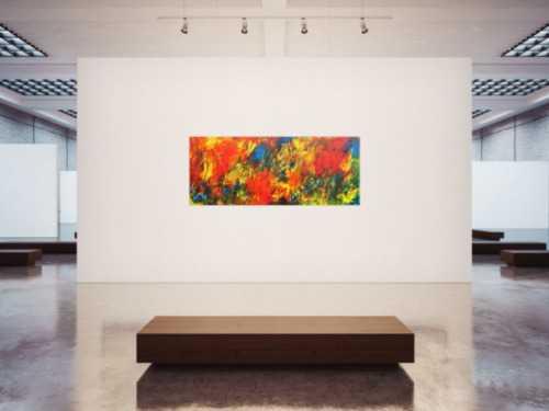 Sehr buntes abstraktes Acrylbild viele Farben modern
