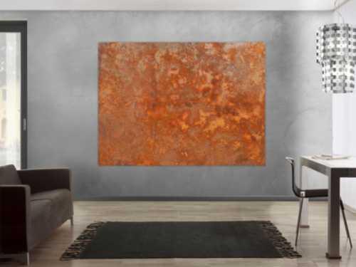 Abstraktes Acrylbild aus echtem Rost