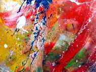 Detailaufnahme Abstraktesa Acrylbild mit vielen bunten Farben sehr modern