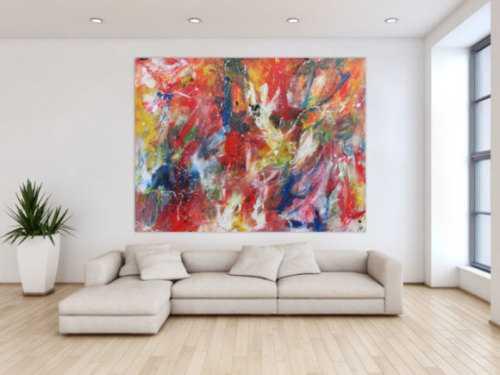 Abstraktesa Acrylbild mit vielen bunten Farben sehr modern