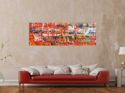 Modernes Acrylgemälde abstrakt in orange