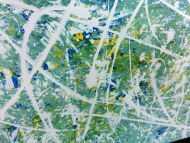 Detailaufnahme Modernes Acrylbild abstrakt in türkis und hellblau