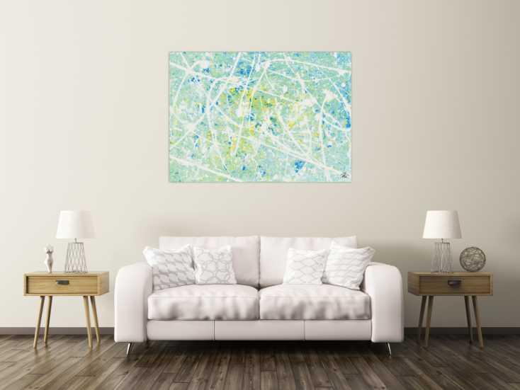 modernes acrylbild abstrakt in t rkis und hellblau auf leinwand 100x140cm. Black Bedroom Furniture Sets. Home Design Ideas