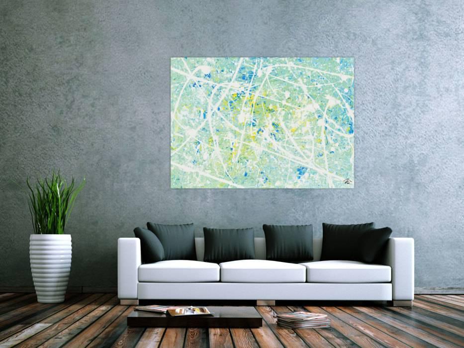 modernes acrylbild abstrakt in t rkis und hellblau handgemalt auf leinwand in 100x140cm von alex. Black Bedroom Furniture Sets. Home Design Ideas