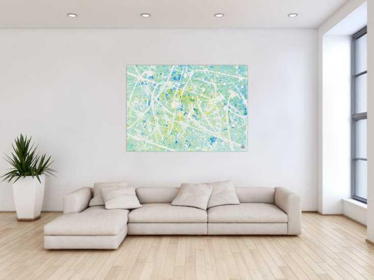 #413 Modernes Acrylbild abstrakt in türkis und hellblau 100x140cm von Alex Zerr
