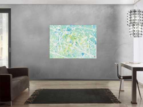 Modernes Acrylbild abstrakt in türkis und hellblau