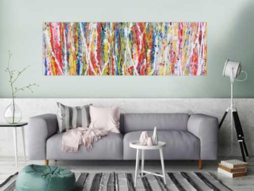 Buntes abstraktes Acrylgemälde modern mit vielen Faben