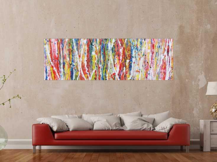 #414 Buntes abstraktes Acrylgemälde modern mit vielen Faben 60x200cm von Alex Zerr