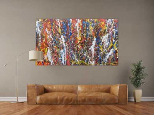 Abstraktes Acrylbild im Großformat modern und bunt