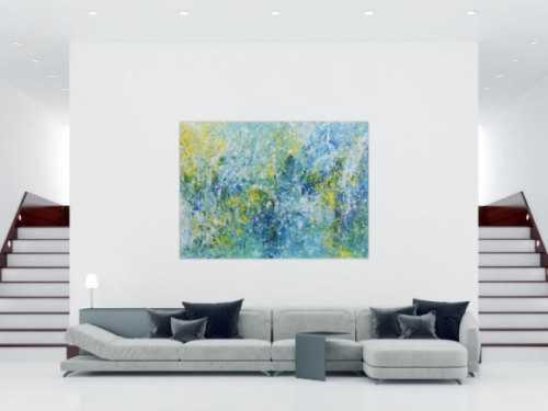 Abstraktes Acrylbild in türkis und hellblau sehr modern