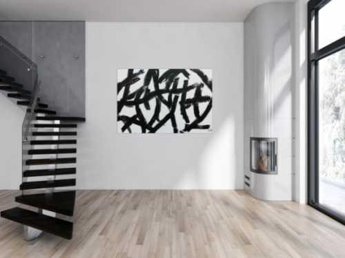 Modernes abstraktes Acrylbild in schwaz weiß minimalistisch