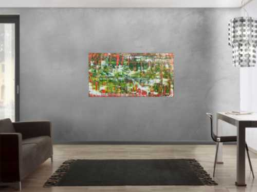 Abstraktes Acrylbild in grün mit orange und weiß