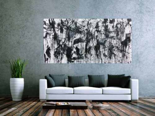 Abstraktes Acrylbild in schwarz weiß modern und zeitgenössich