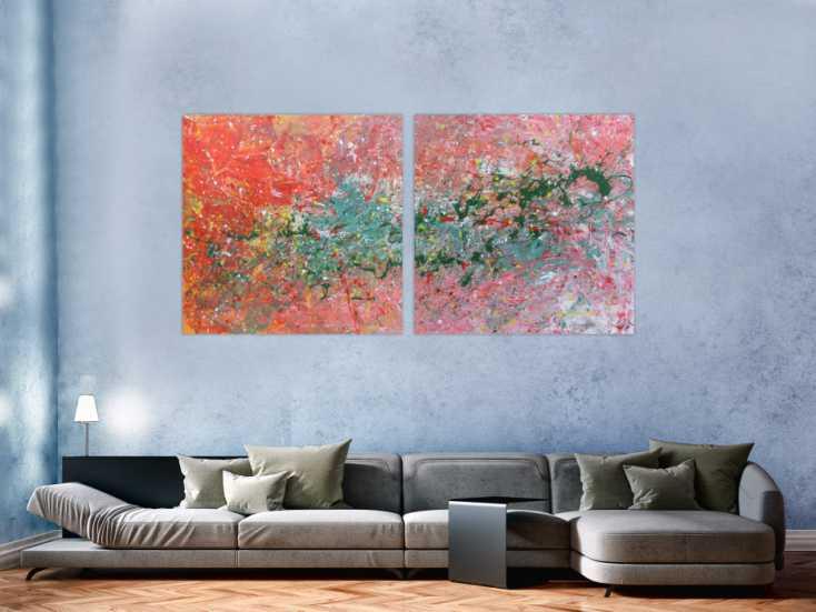 #420 Abstraktes Acrylbild aus zwei Teilen sehr modern 100x200cm von Alex Zerr