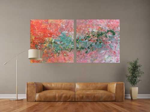 Abstraktes Acrylbild aus zwei Teilen sehr modern