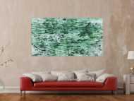 Abstraktes Acrylbild in rün und weiß sehr modern