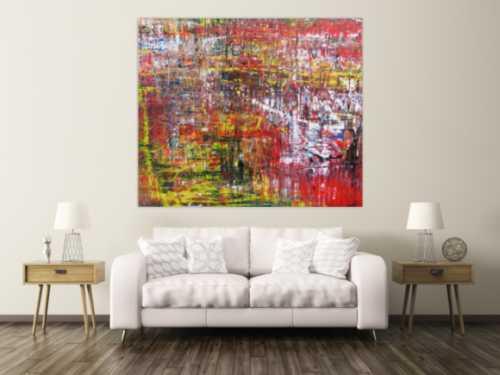 Modernes abstraktes Acrylgemälde mit viel rot
