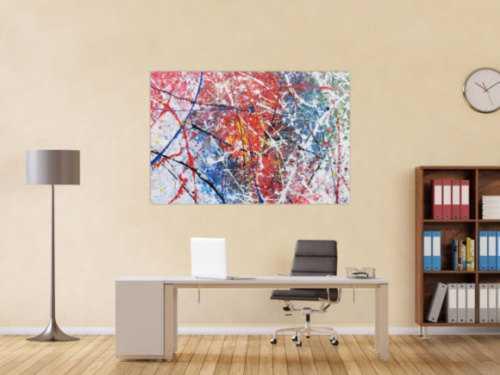Modernes Acrylbild abstrakt in weiß rot blau