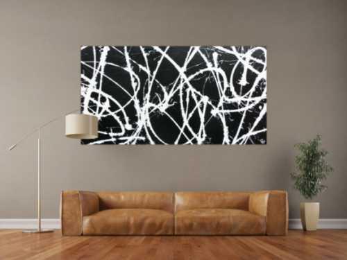 Abstraktes Acrylbild minimalistisch in schwarz weiß sehr modern