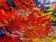Detailaufnahme Buntes abstraktes Acrylbil mit vielen Farben modern und zeitgenössisch