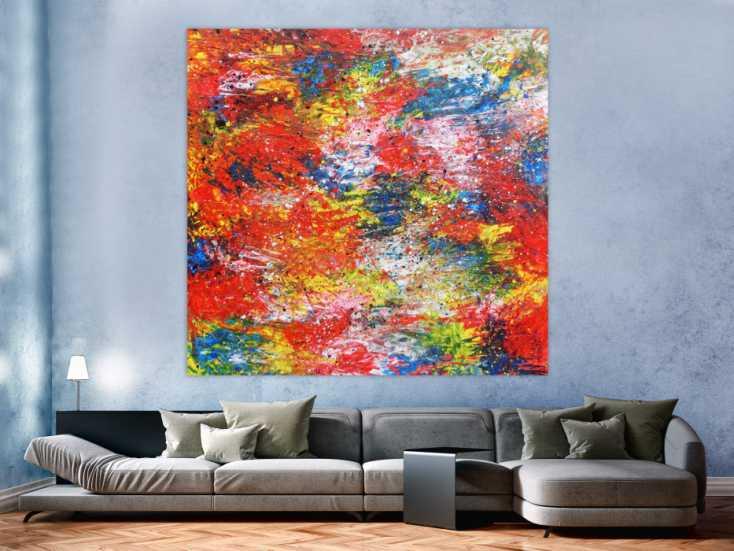buntes abstraktes acrylbil mit vielen farben modern und zeitgen ssisch handgemalt auf leinwand. Black Bedroom Furniture Sets. Home Design Ideas