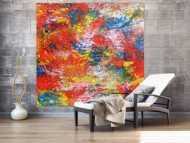 Buntes abstraktes Acrylbil mit vielen Farben modern und zeitgenössisch