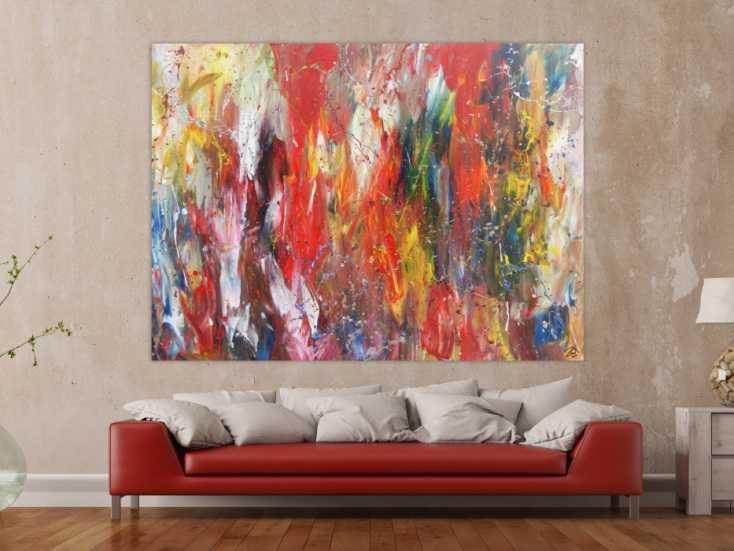 abstraktes acrylbild bunt modern viele farben auf leinwand 150x200cm. Black Bedroom Furniture Sets. Home Design Ideas