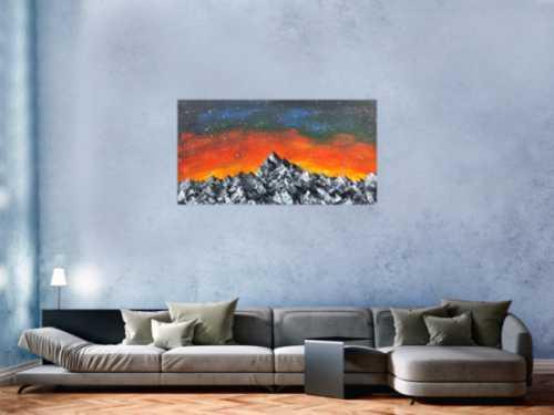 Abstraktes Acrylbild Berge Himmel Landschaft