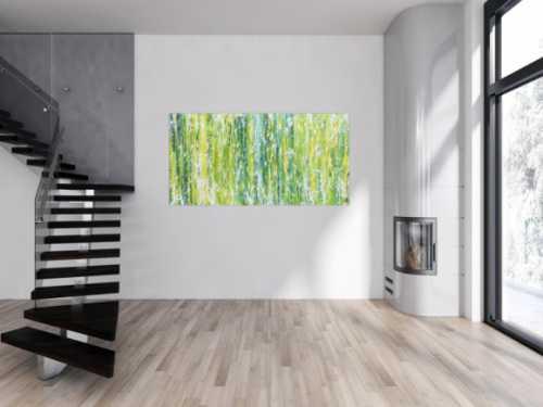 Modernes Acrlgemälde abstrakt in grün schlicht