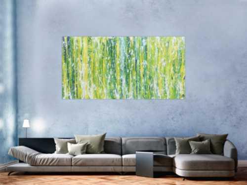 Modernes Acrylgemälde abstrakt in grün schlicht
