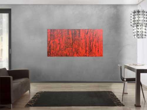 Abstraktes Acrylbild modern in rot und schwarz