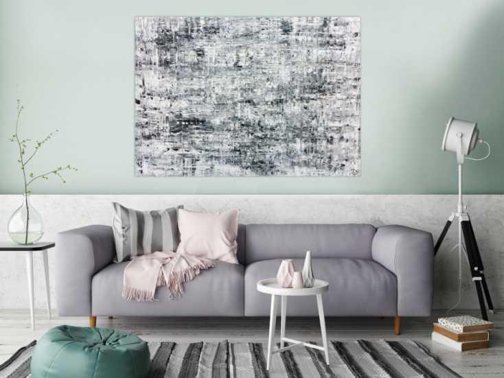 schlichtes abstraktes acrylbild in schwarz wei grau auf leinwand 100x140cm. Black Bedroom Furniture Sets. Home Design Ideas