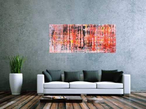 Abstraktes Acrylbil in rot orange modern zeitgenössisch