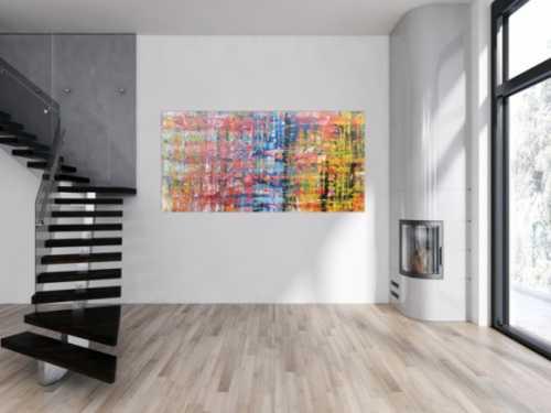 Buntes abstraktes Acrylbild modern mit vielen hellen Farben