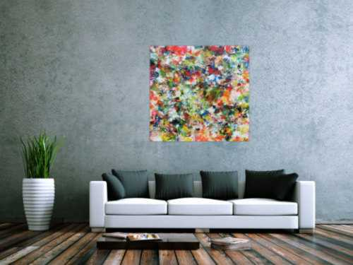 Sehr buntes abstraktes Acrylgemälde modern