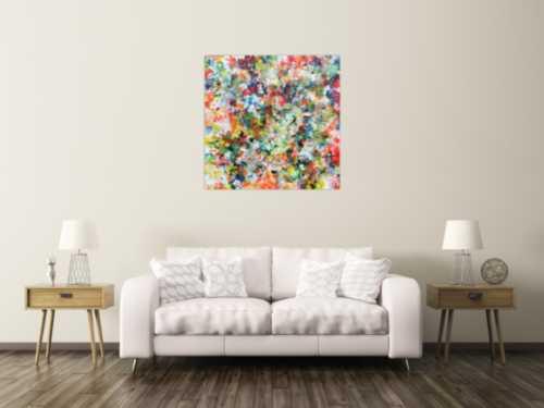 Modernes buntes abstraktes Acrylbild mit vielen Farben
