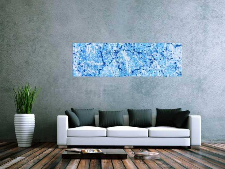 #438 Abstraktes Acrylbild in hellblau modern und schlicht 50x170cm von Alex Zerr