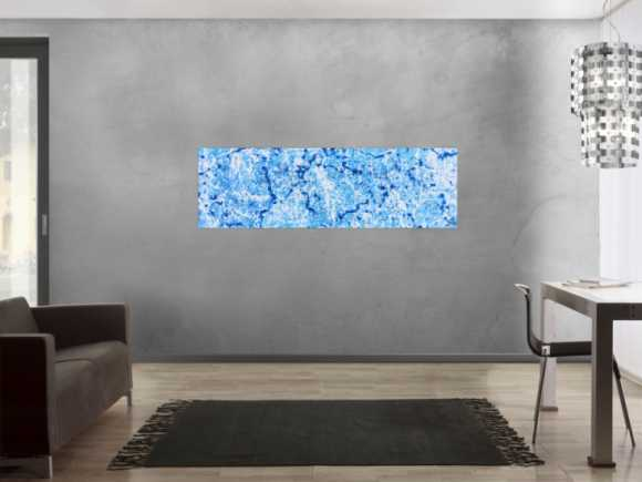 Abstraktes Acrylbild in hellblau modern und schlicht