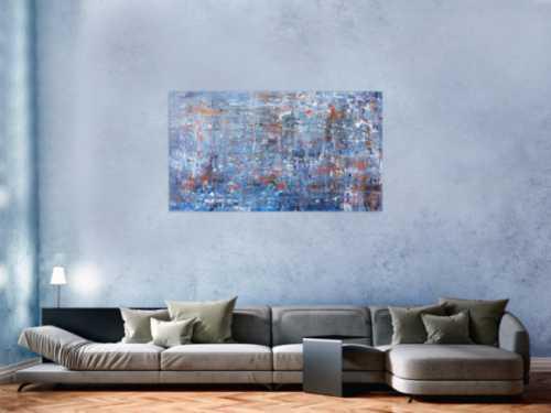 Anstraktes Acrylgemälde modern schlicht in blau