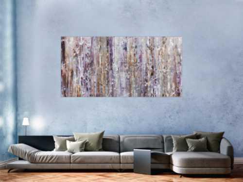 Modernes Acrylbild in lila und weiß abstrakt