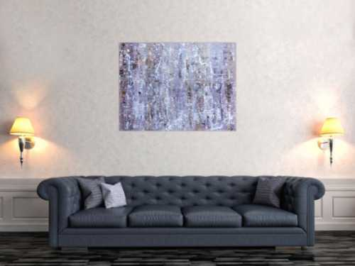 Modernes Acrylbild abstrakt in lila weiß schlicht