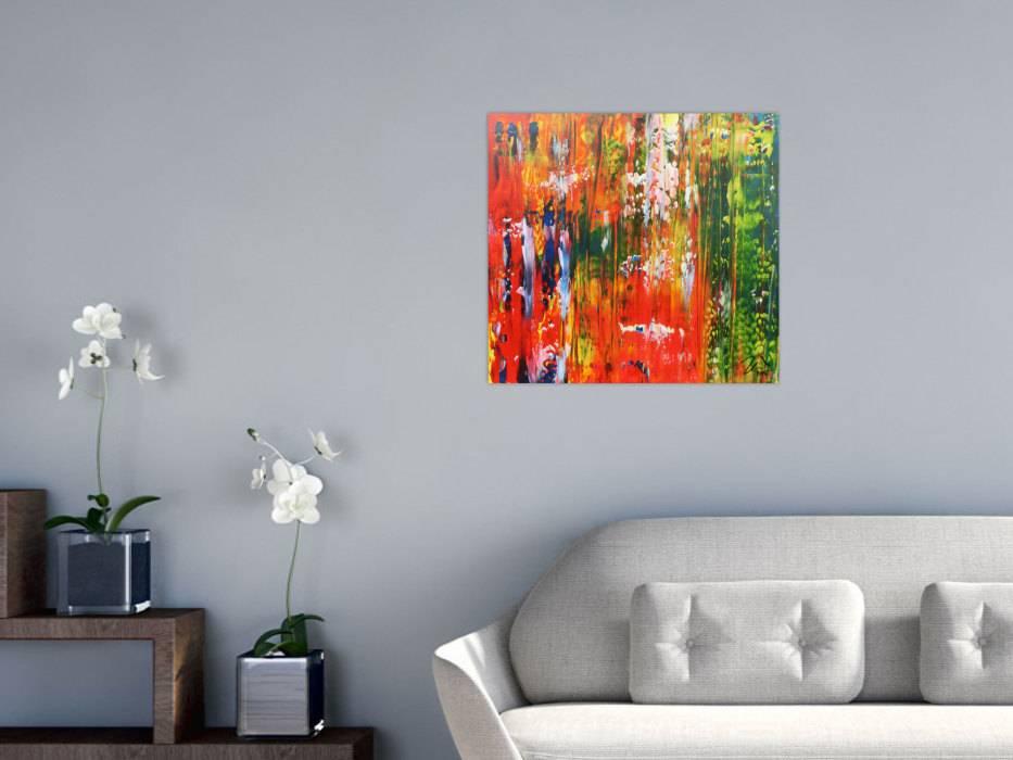 abstraktes acrylbild bunt modern mit vielen farben gr n und rot handgemalt auf leinwand in. Black Bedroom Furniture Sets. Home Design Ideas
