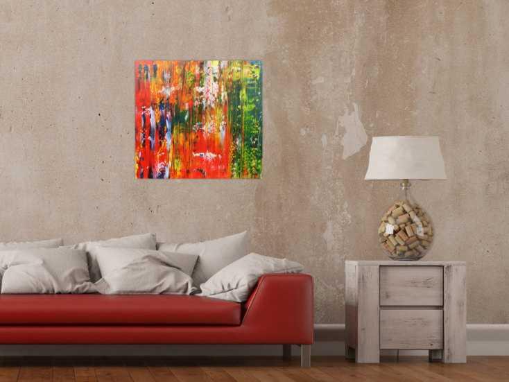 #449 Abstraktes Acrylbild bunt modern mit vielen Farben grün und rot 60x60cm von Alex Zerr