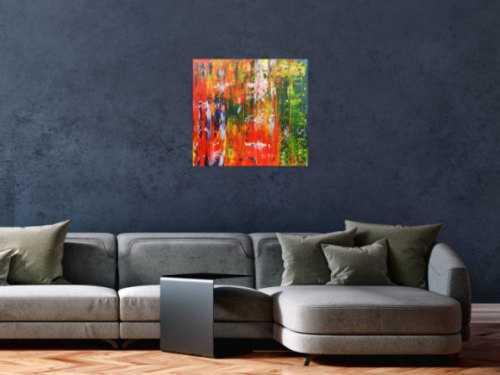 Abstraktes Acrylbild bunt modern mit vielen Farben grün und rot