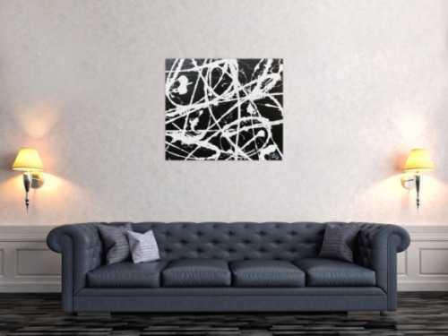 Modernes abstraktes Acrylbild in schwarz weiß schlicht