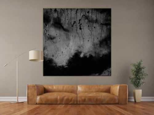 Abstraktes Acrylbild schwarz/weiß