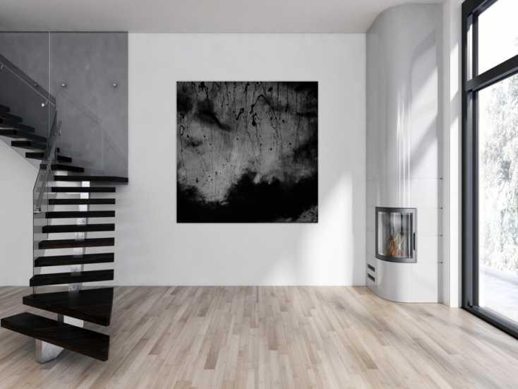 abstraktes acrylbild schwarz wei auf leinwand 150x150cm. Black Bedroom Furniture Sets. Home Design Ideas