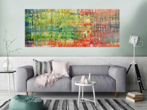 Buntes modernes Acrylbild mit vielen Farben abstraktes Gemälde
